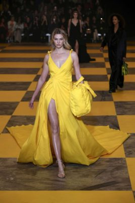 Karlie Kloss poses for a camera at the Off-White Women's Runway Show in Paris, 2019