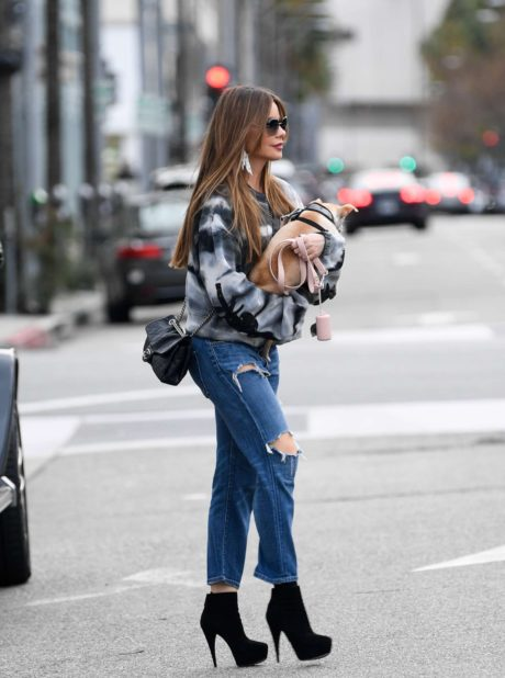 Photo 02: Sofia Vergara in blue ripped Jeans, Beverly Hills, 2019