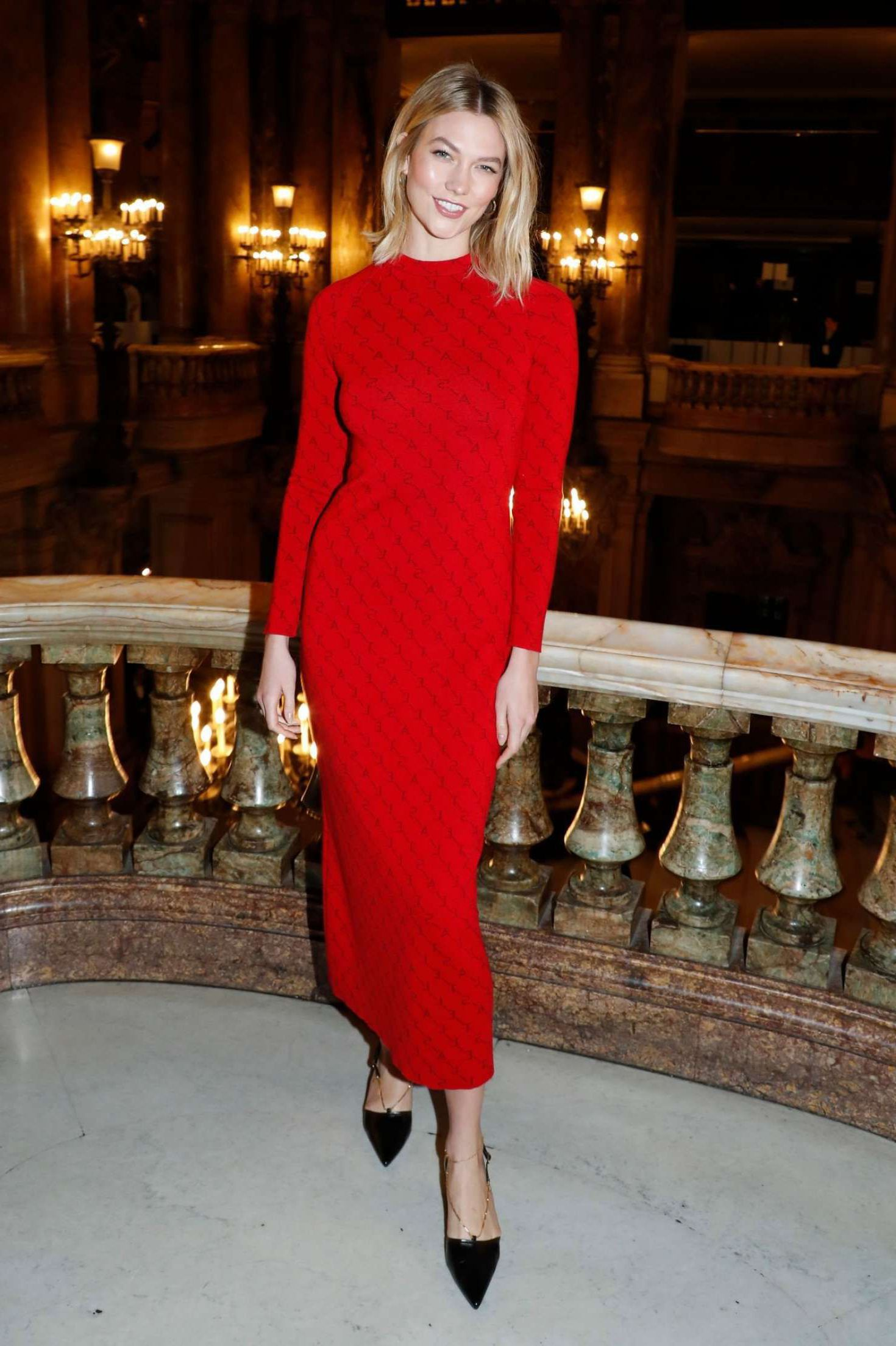 Photo 05: Karlie Kloss in red long dress, Paris, 2019