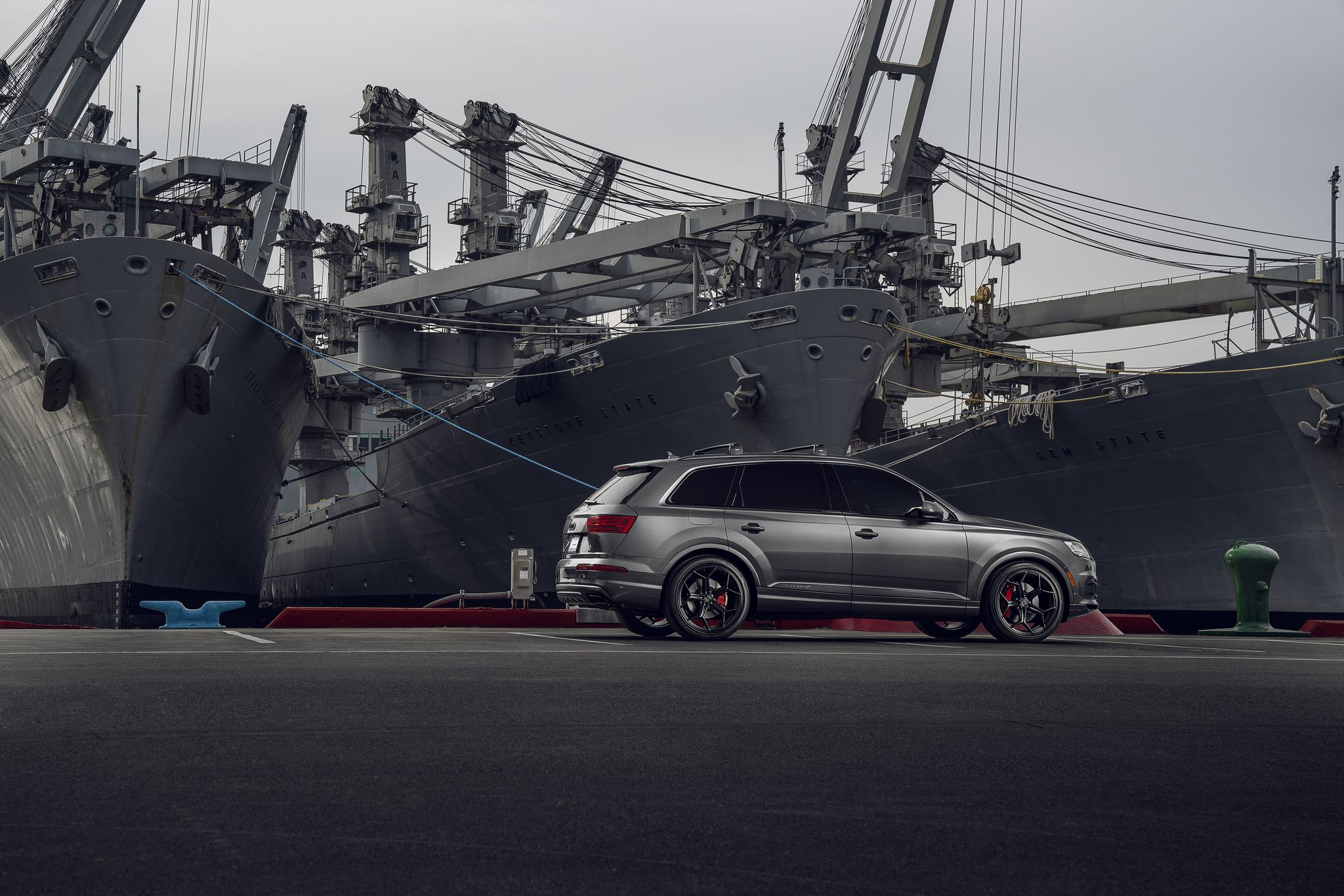 2019 Audi Q7 at military ships background