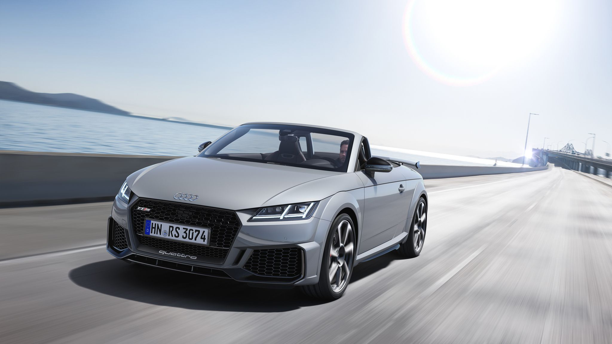 2019 Audi TT RS Roadster at sun rays background