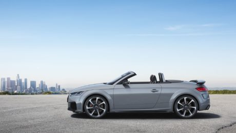 2019 Audi TT RS Roadster - side view, at city background