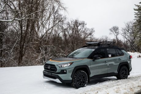 2019 Toyota RAV4 at snow background