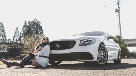 AMG S 63 with a girl