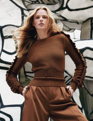 Anne Vyalitsyna in brown sweater