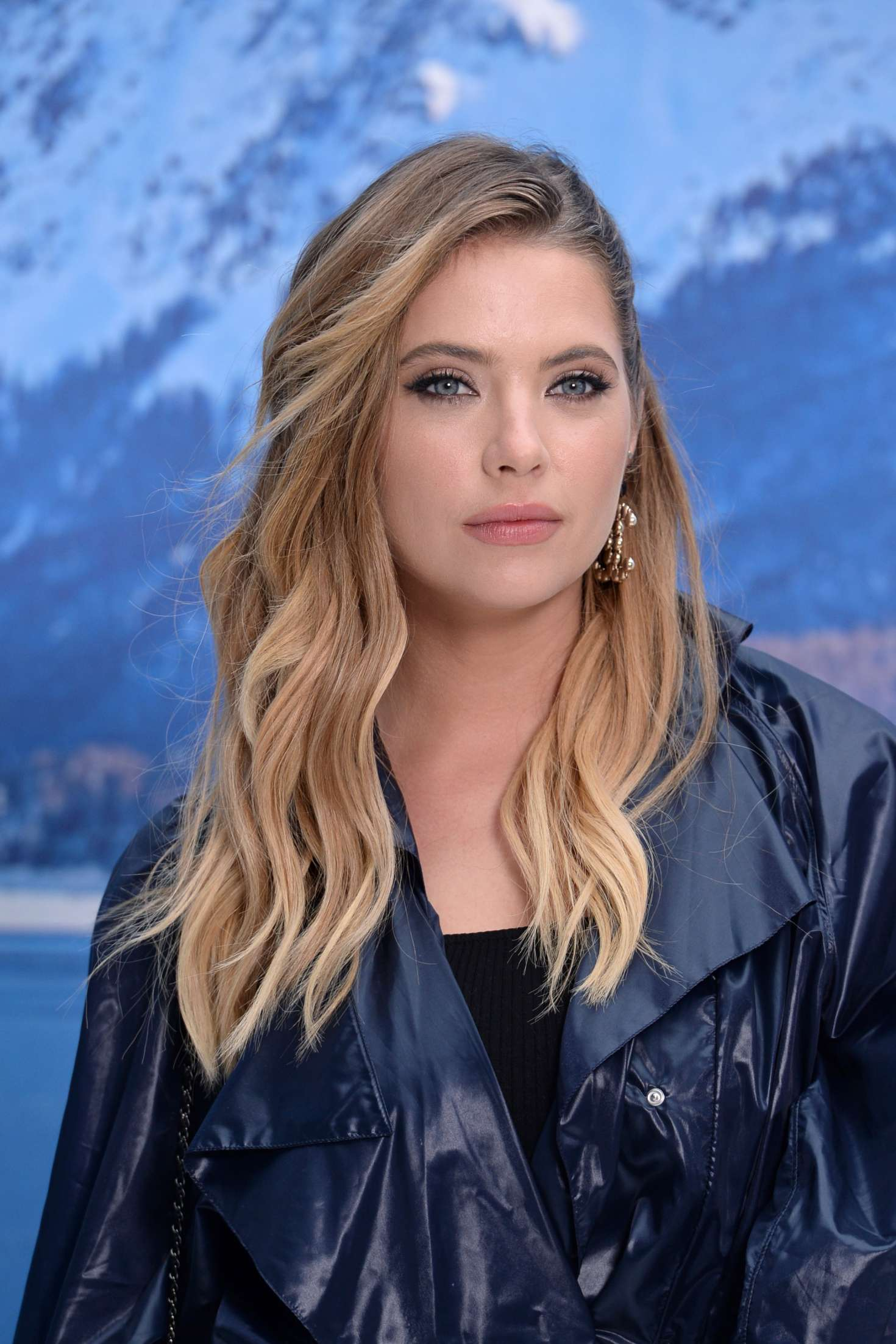 Ashley Benson, gray eyes, at the Chanel Fashion Show, 2019