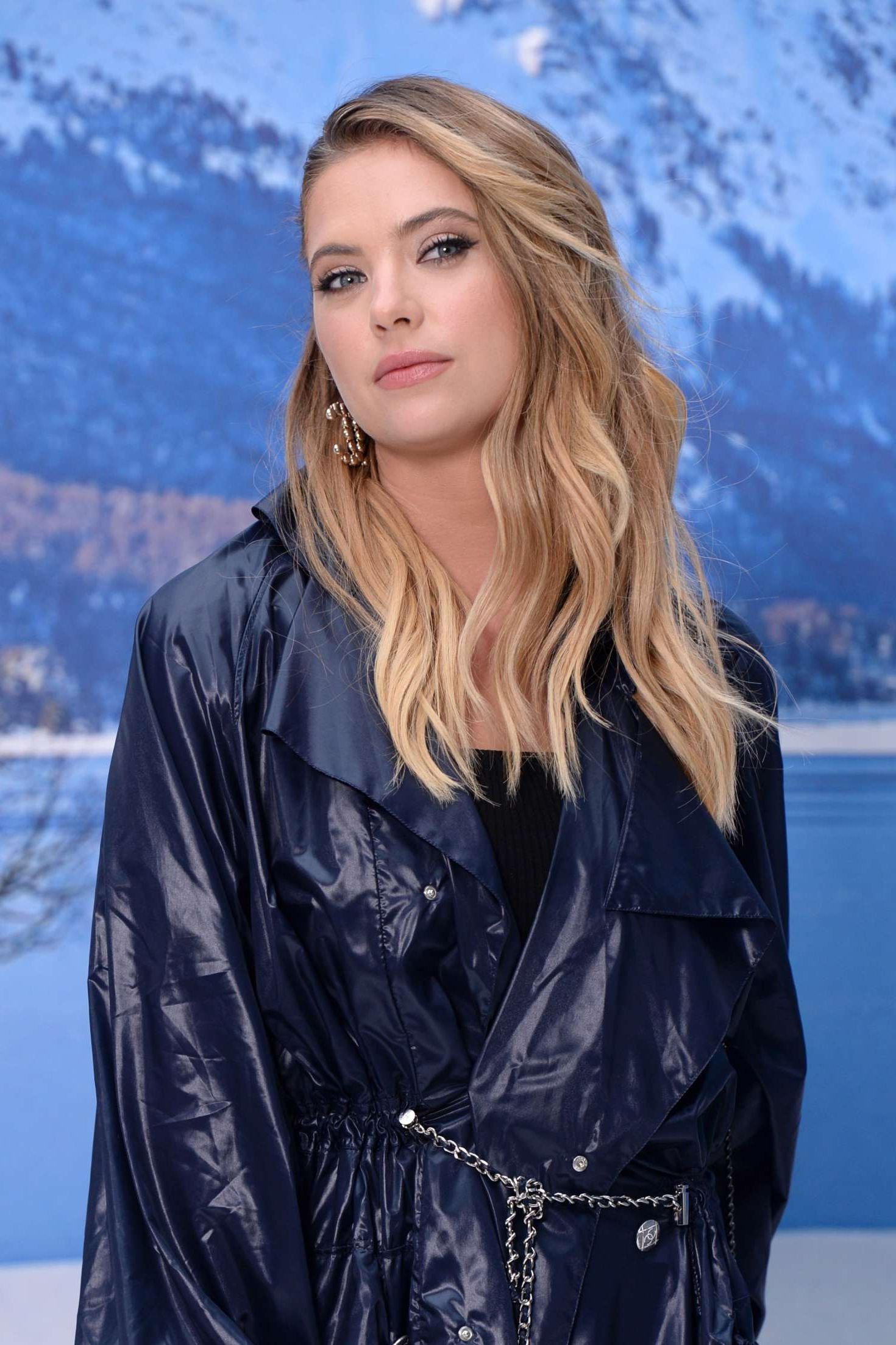 Ashley Benson in blue coat at the Chanel Fashion Show, 2019