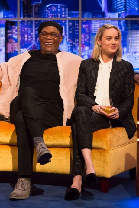 Brie Larson and smiles Jonathan Ross