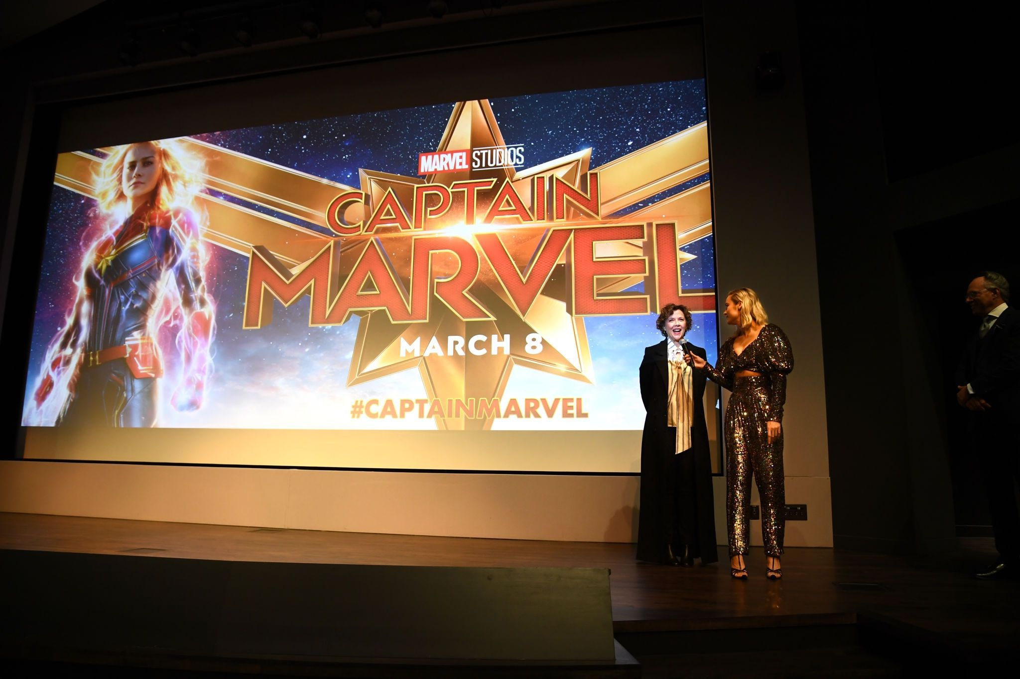 Brie Larson at poster background on the 'Captain Marvel' Premiere, 2019