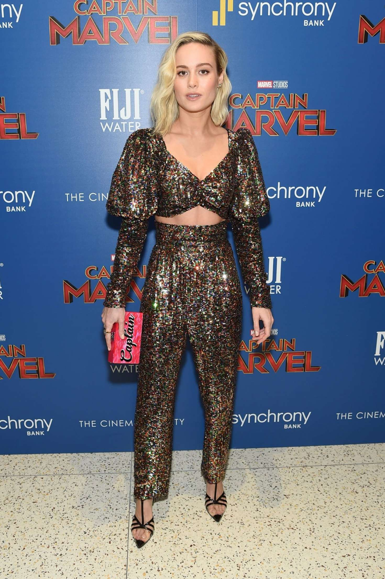 Brie Larson in new green suit at the 'Captain Marvel' Premiere, 2019
