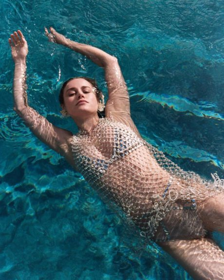 Brie Larson in swim pool