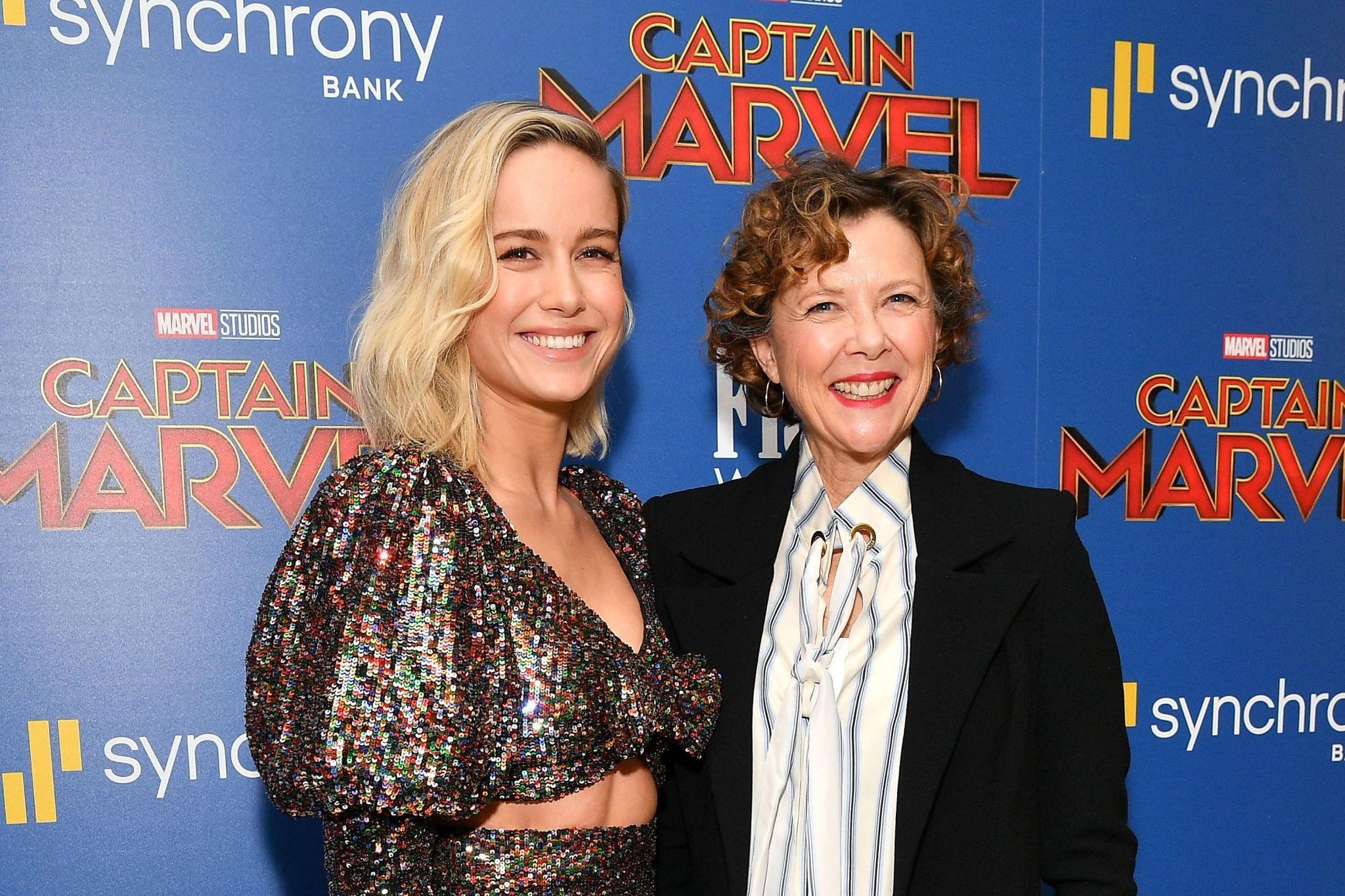 Brie Larson with the producer at the 'Captain Marvel' Premiere, 2019