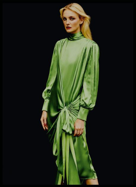 Caroline Trentini in long green dress