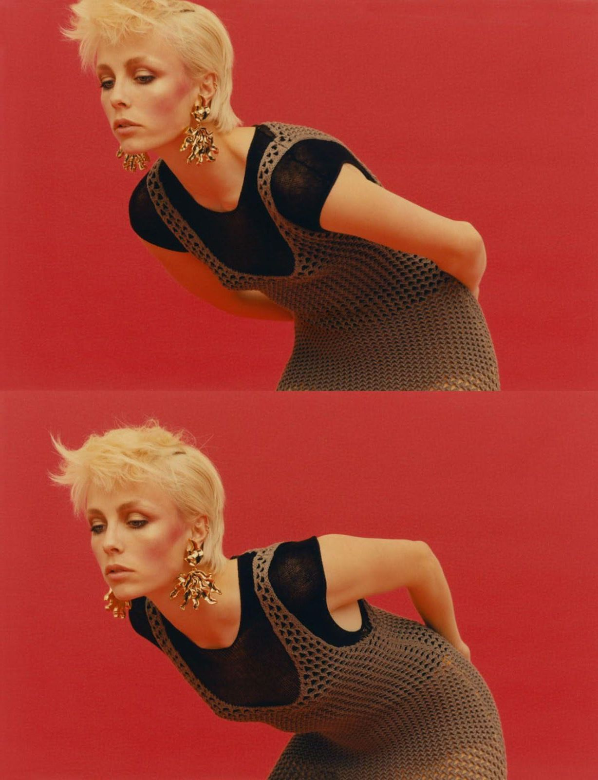 Edie Campbell at red background