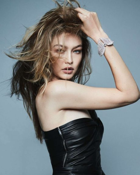 Gigi Hadid in black leather dress, Messika, Twin Collection, 2019