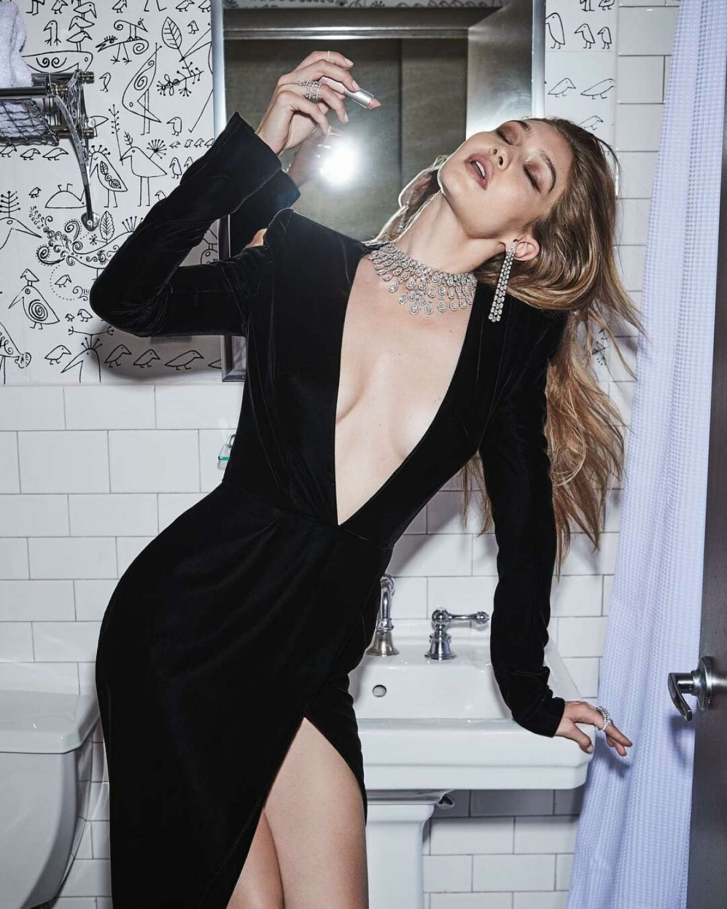 Gigi in black dress, Messika, Twin Collection, 2019