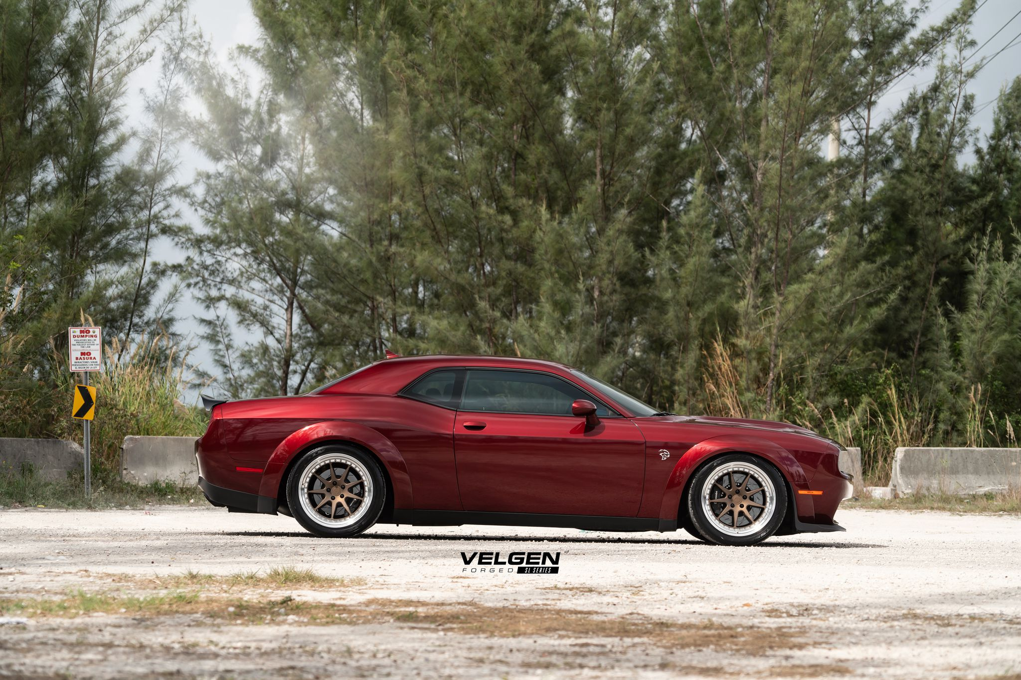 Hellcat Dodge Challenger in dark red colour