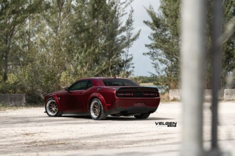 Hellcat Dodge Challenger rear side view