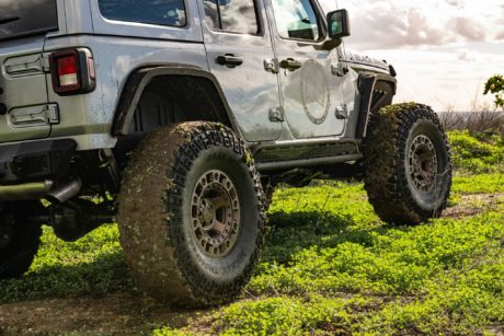 Jeep Wrangler JLU Rubicon at offroad on Black Rhino wheels