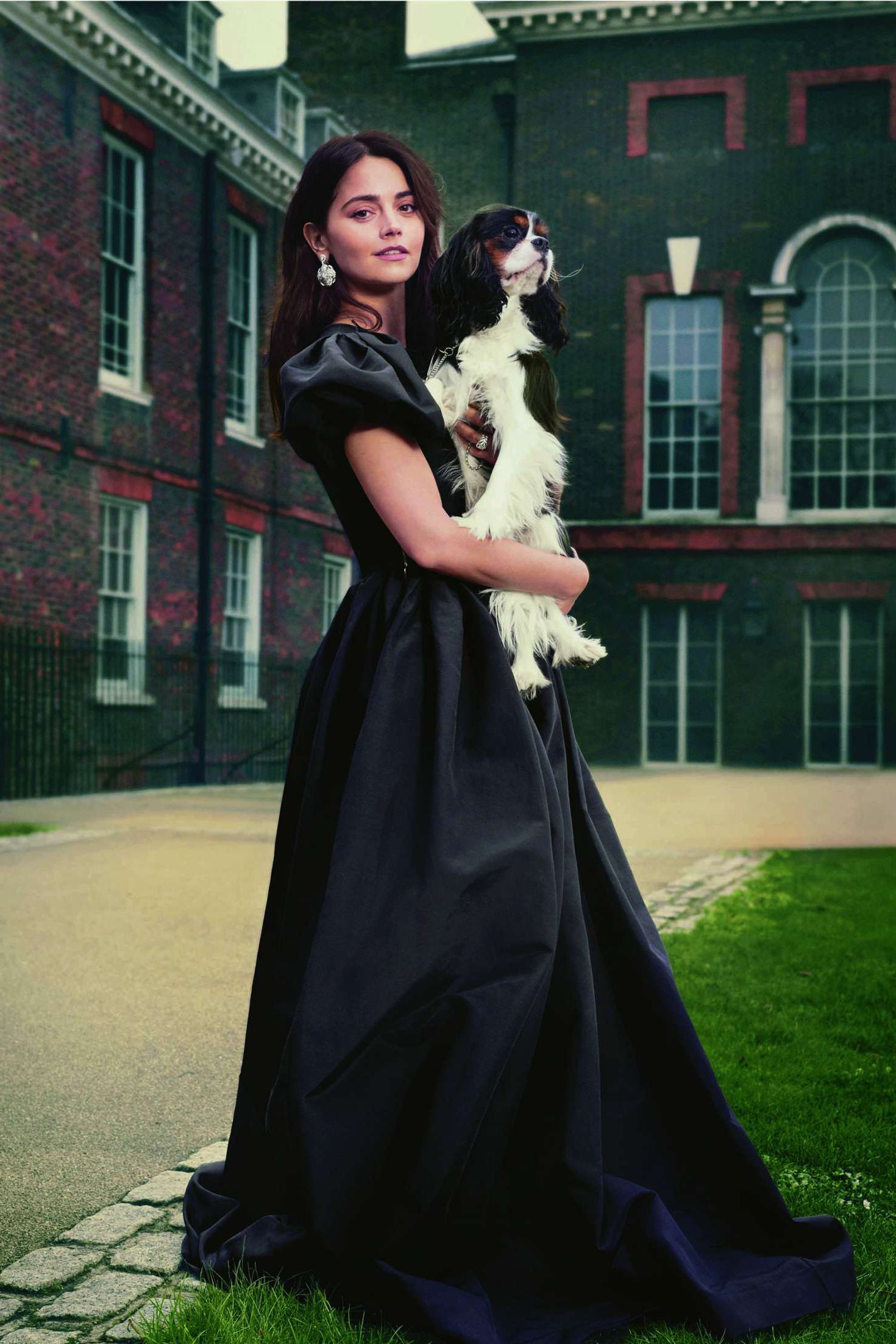 Jenna Louise Coleman in black long dress with a do