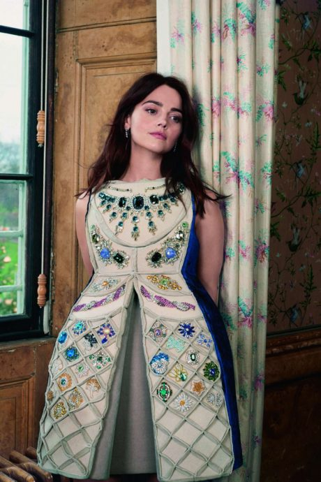 Jenna Louise Coleman in dress with diamonds