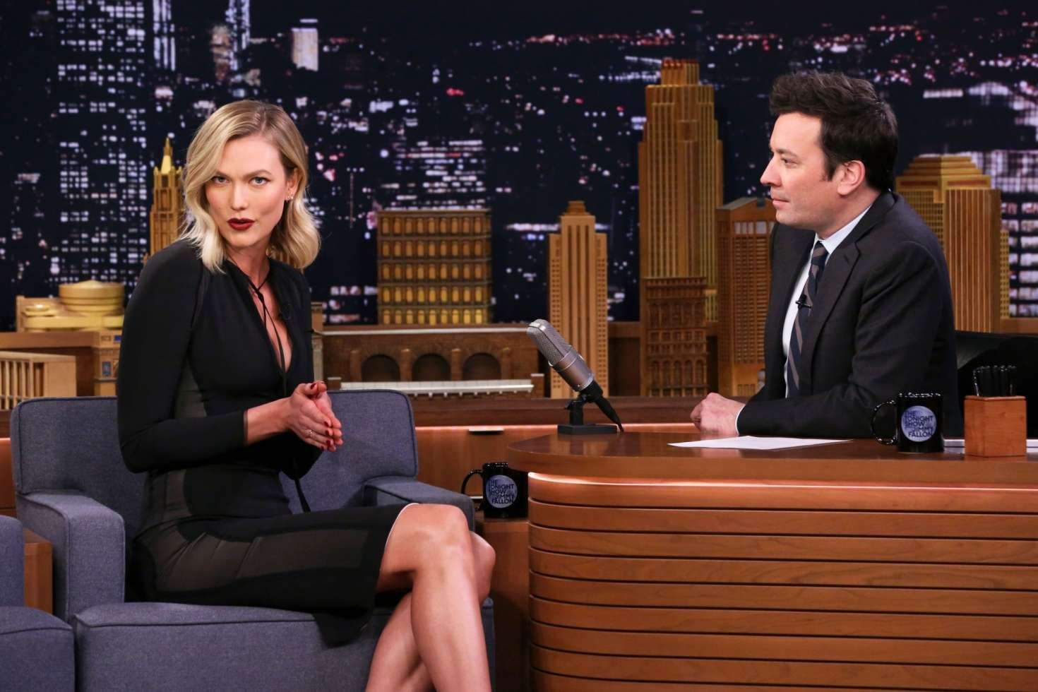 Karlie Kloss with Jimmy Fallon at the 'The Tonight Show in New York, 2019