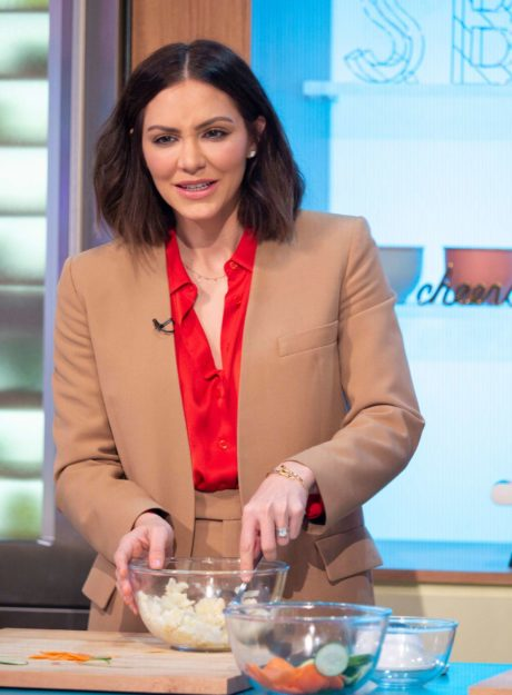 Katharine McPhee cooks salad at the Sunday Brunch Show in London, 2019