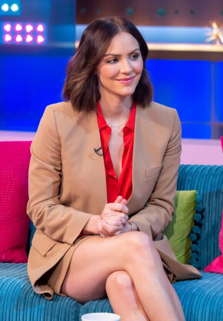 Katharine McPhee with beautiful legs at the Sunday Brunch Show in London, 2019