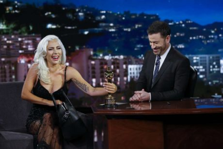 Lady Gaga holds Oscar award at the Jimmy Kimmel Live in LA, 2019