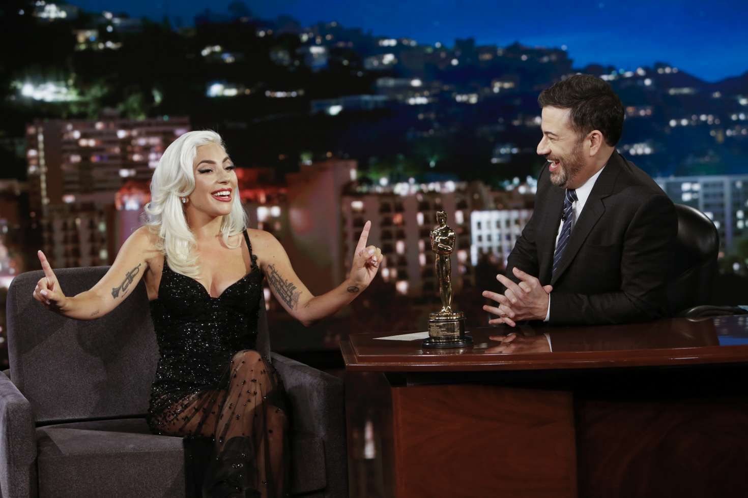 Lady Gaga with tattoos on hands at the Jimmy Kimmel Live in LA, 2019