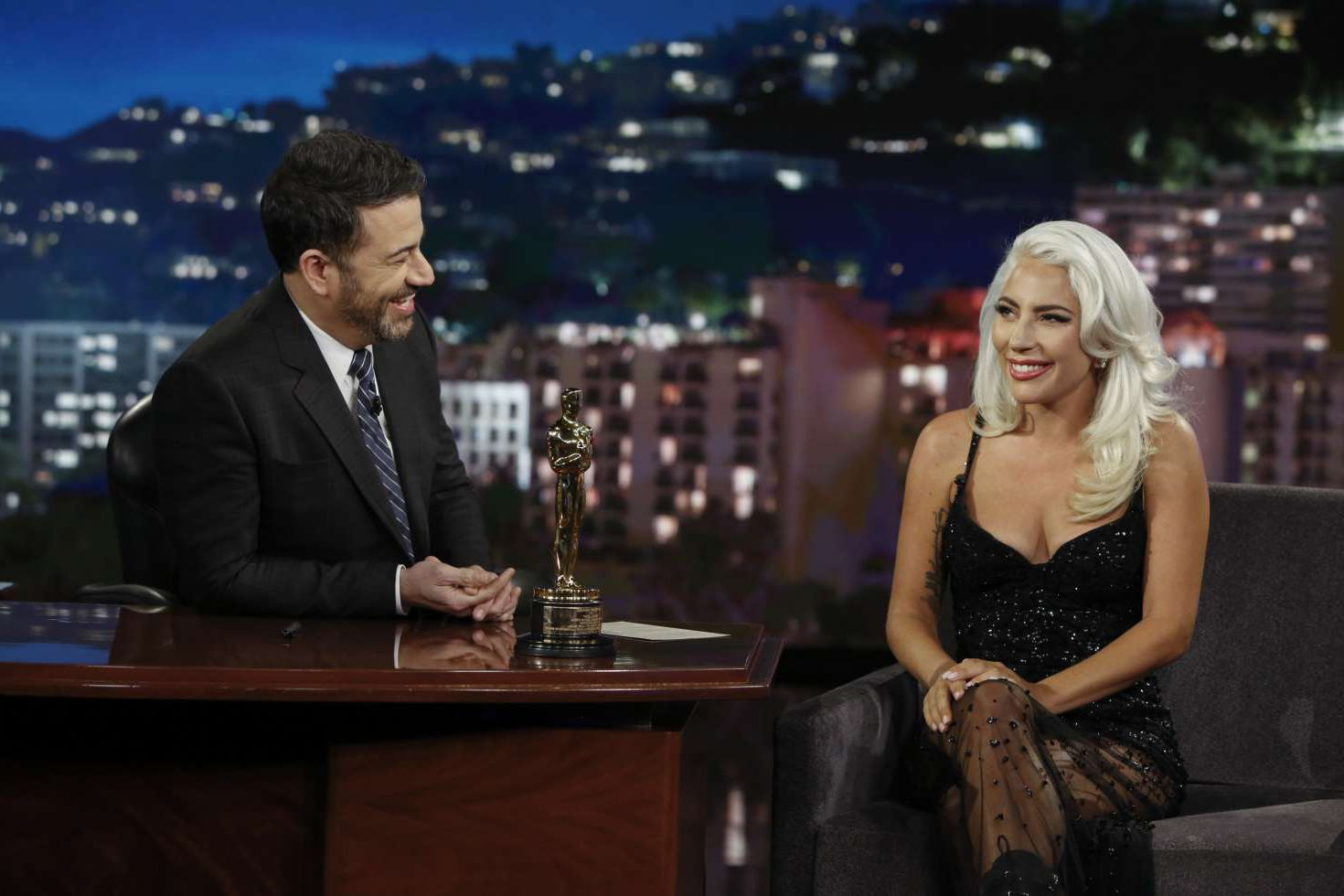 Lady Gaga with white hair at the Jimmy Kimmel Live in LA, 2019
