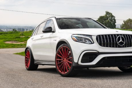 Mercedes AMG GLC 63 on custom red 22 inch wheels