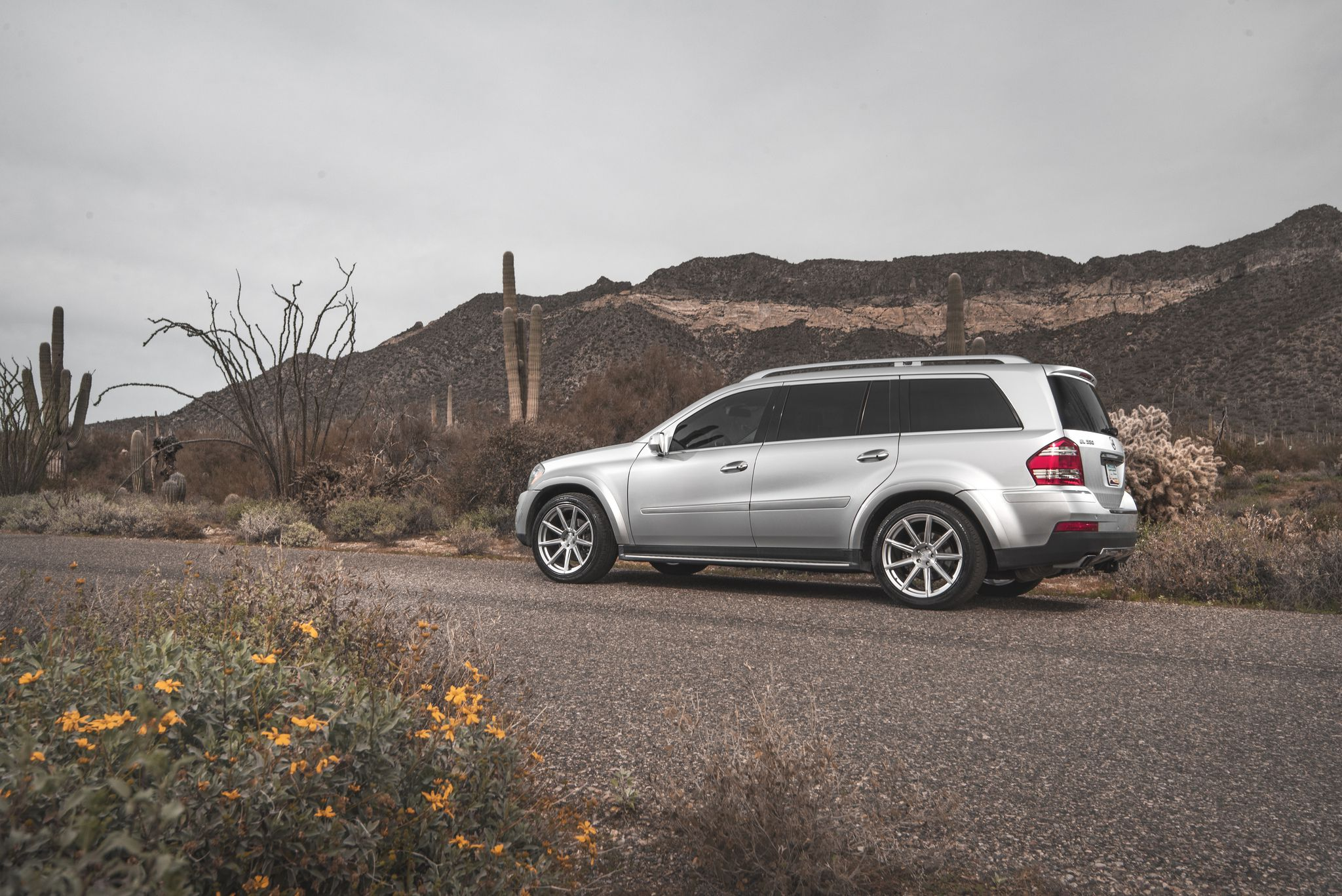 Mercedes GL 550 at mountains background