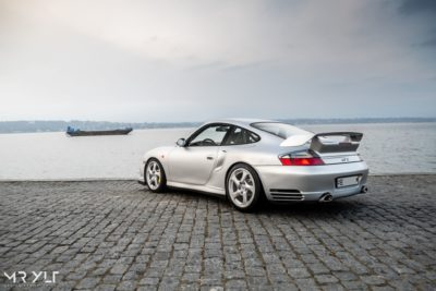 Porsche 911 996 GT2 at stone pier in grey colour