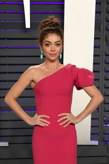 Sarah Hyland in red dress at the Vanity Fair Oscar Party in Beverly Hills, 2019