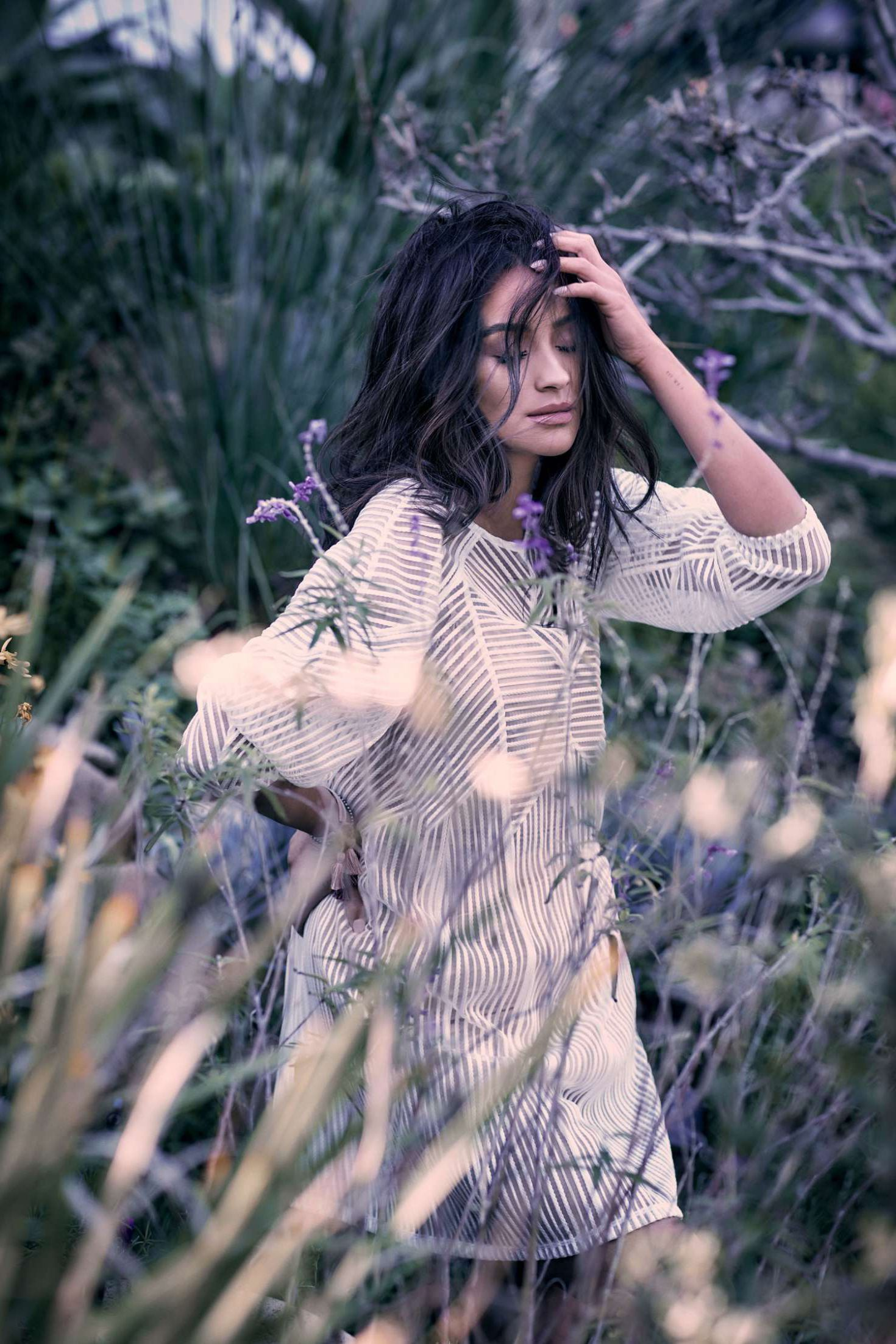 Shay in white stripped dress