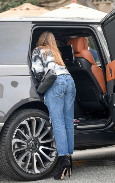 Sofia Vergara in blue ripped Jeans near her car, Beverly Hills, 2019