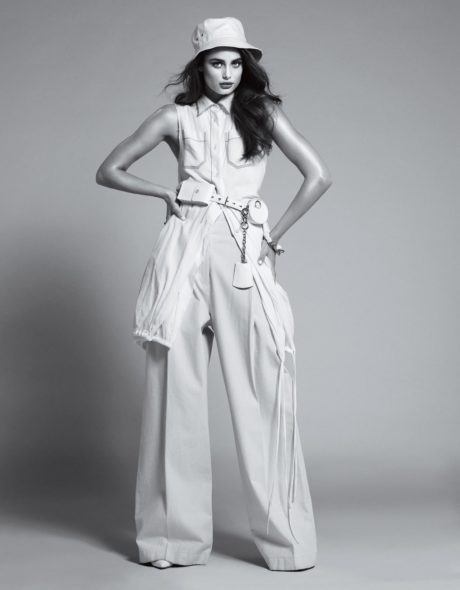 Taylor Hill in white wide pants