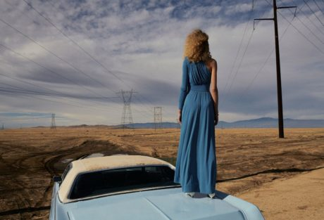 Vanessa in blue dress, classic car