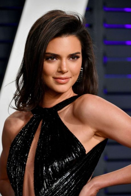Kendall Jenner in a super open dress at the Vanity Fair Oscar Party in Beverly Hills, February 2019