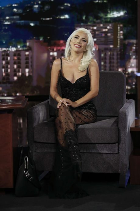 happy Lady Gaga at the Jimmy Kimmel Live in LA, 2019