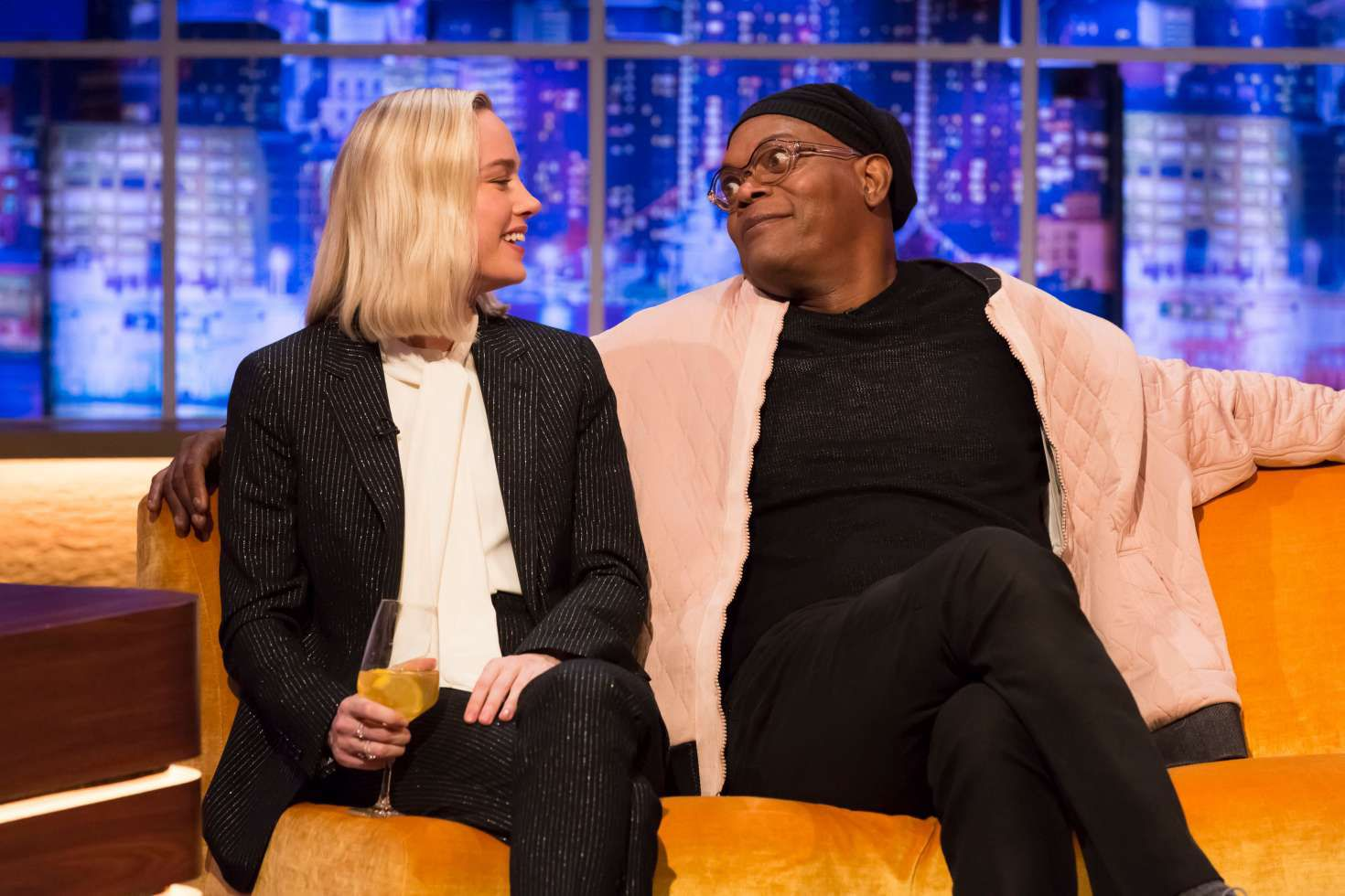 smiles Brie Larson and funny Jonathan Ross