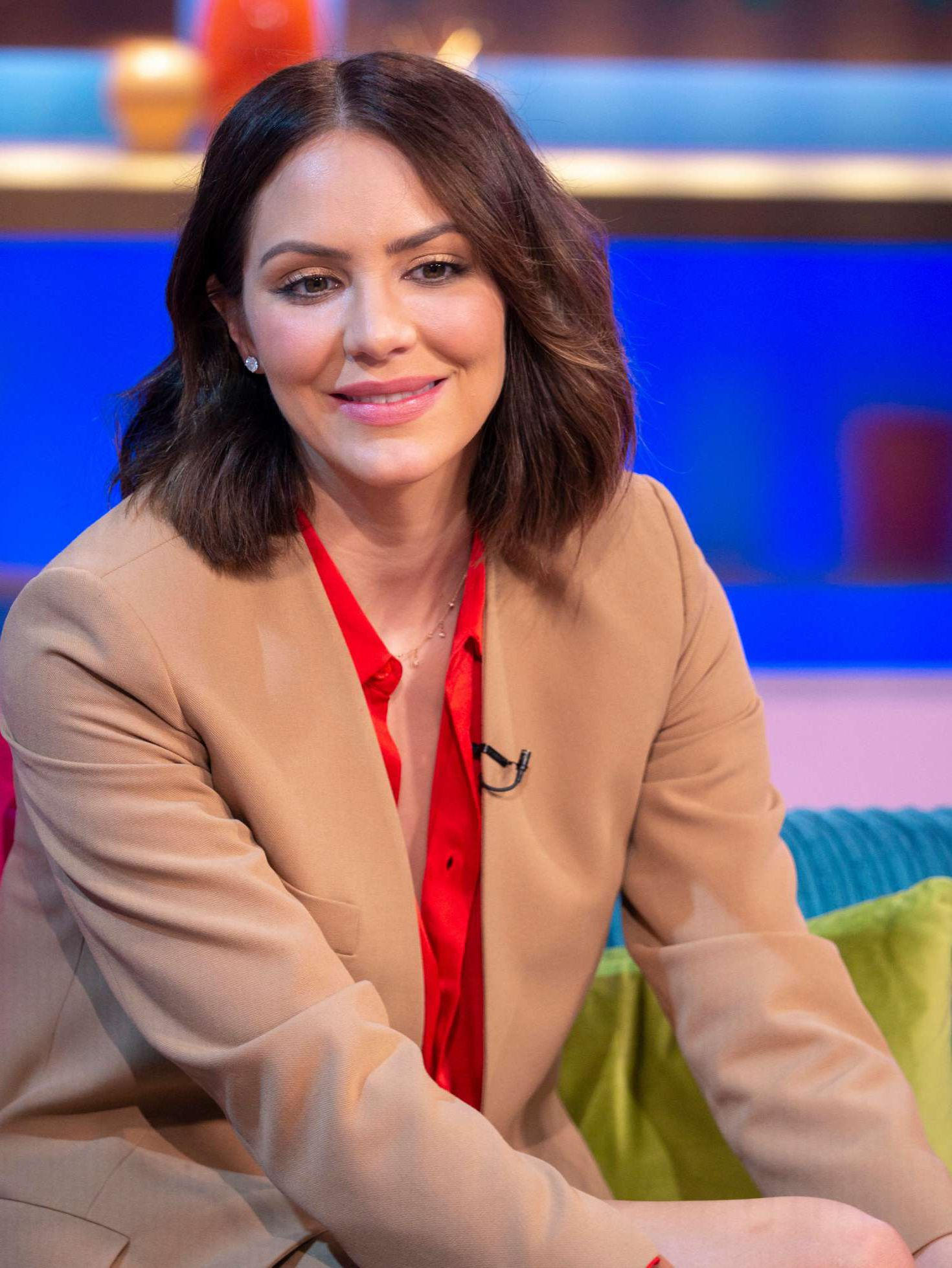smiles Katharine McPhee at the Sunday Brunch Show in London, 2019