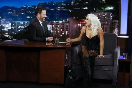 smiles Lady Gaga at the Jimmy Kimmel Live in LA, 2019