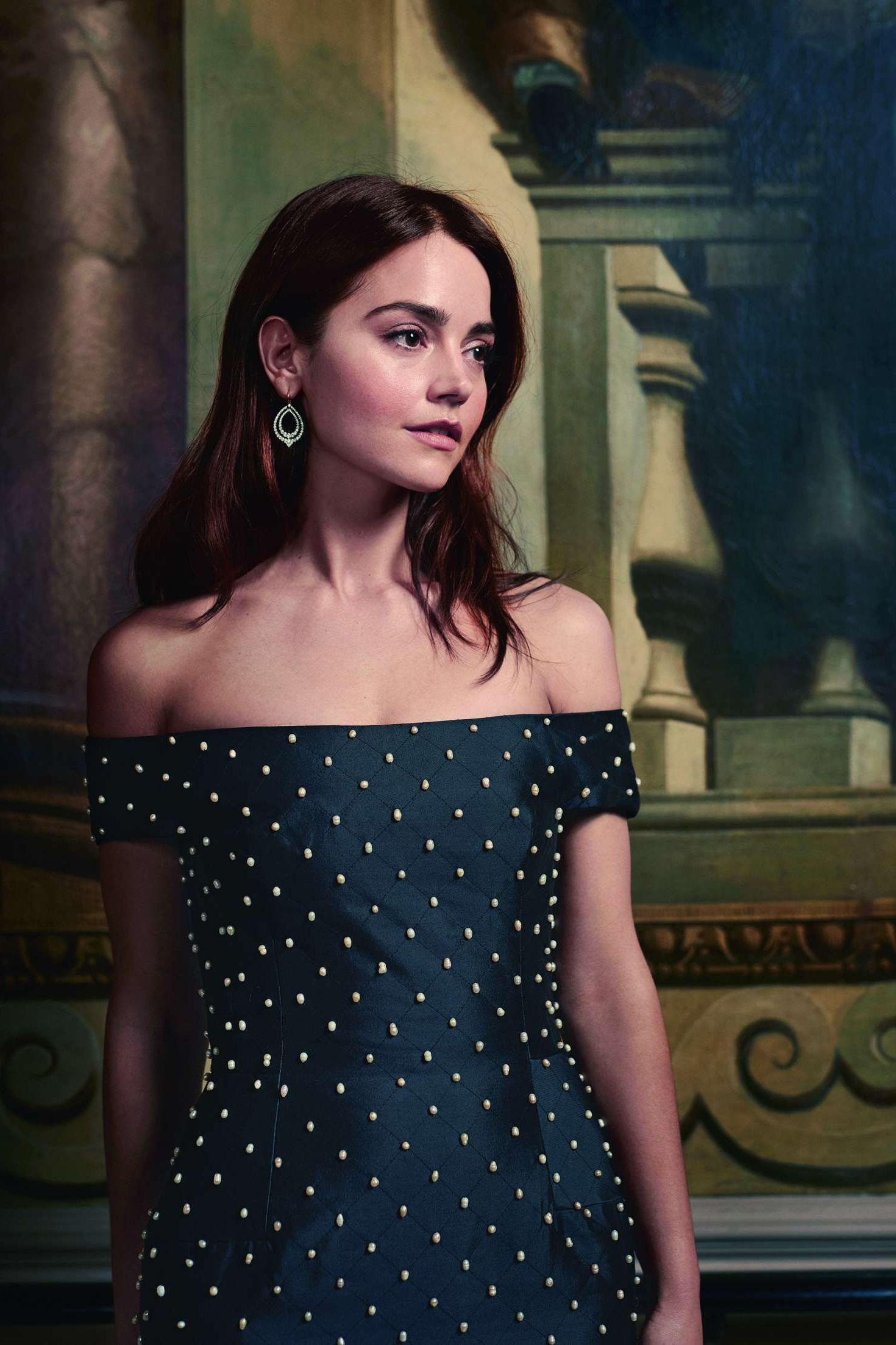 stylish Jenna Louise Coleman in black dress