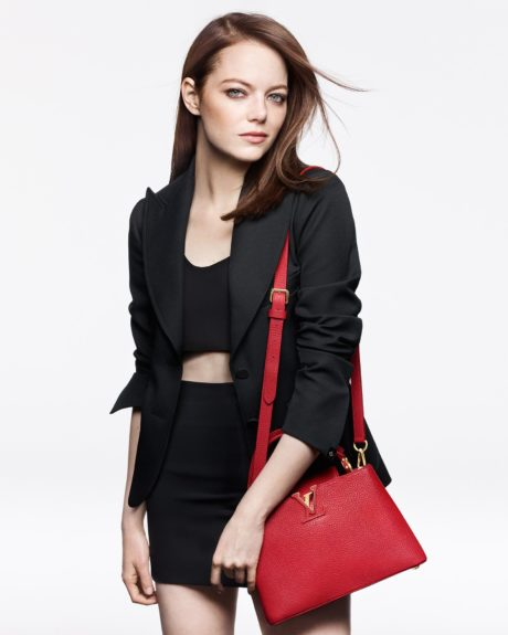 Emma Stone with red bag by Louis Vuitton