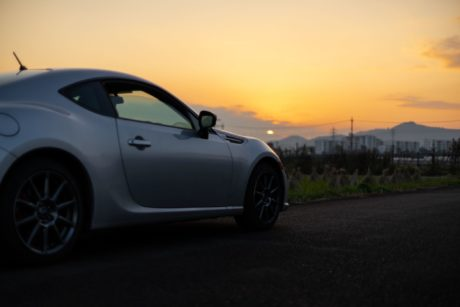 Subaru BRZ at sunset
