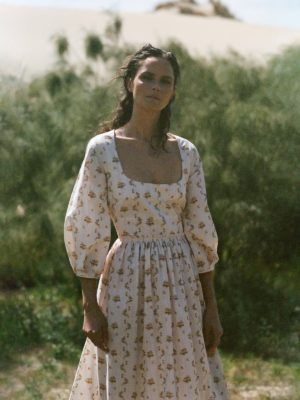 Tasha Tilberg in floral dress